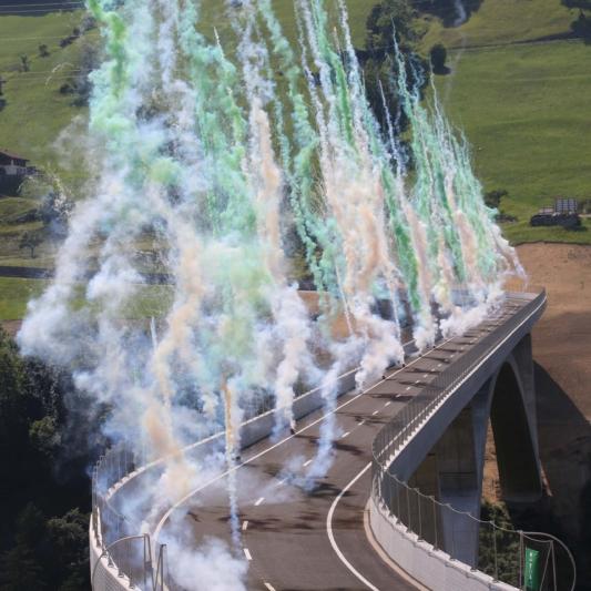 Eröffnung der Taminabrücke 2017 –  eine der längsten Bogenbrücken Europas